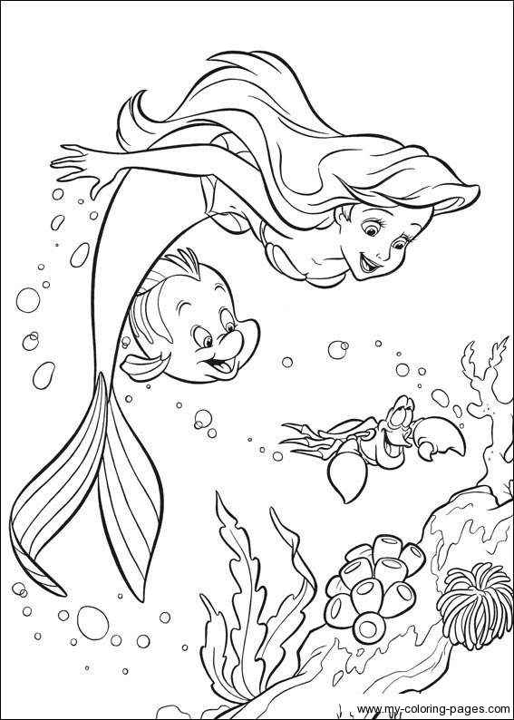 flounder little mermaid coloring pages