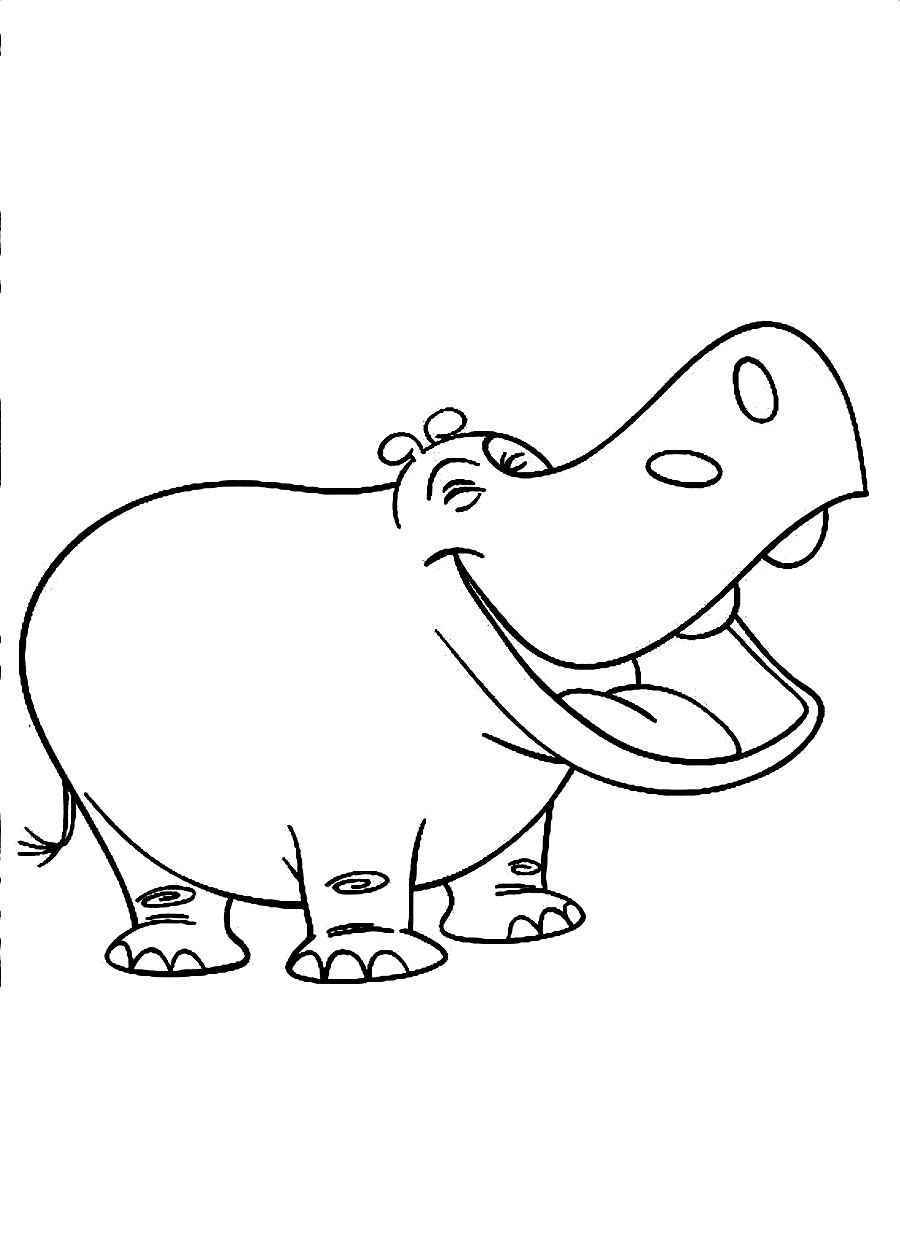happy smile hippopotamus coloring pages free download