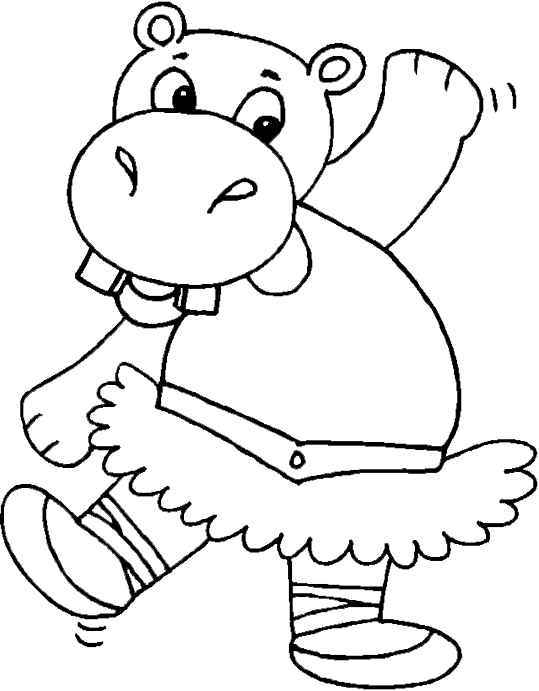 ballerina hippo coloring page