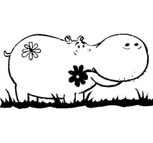 Hippopotamus with flower Coloring Page