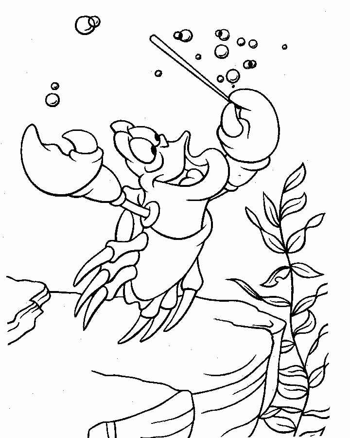 sebastian little mermaid coloring pages printables