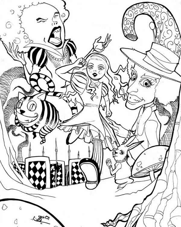 alice wonderland coloring page pages