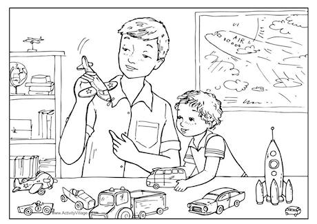 playing_with_dad_colouring_pages_for_celebrate_fathers_day