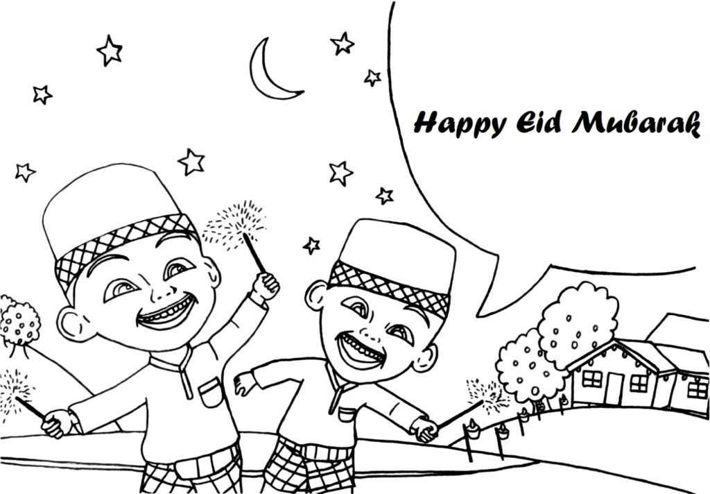 Happy Eid Upin Ipin Coloring Pages 1024x712jpeg