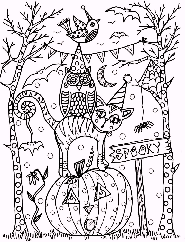 vintage artistic halloween coloring pagesjpg
