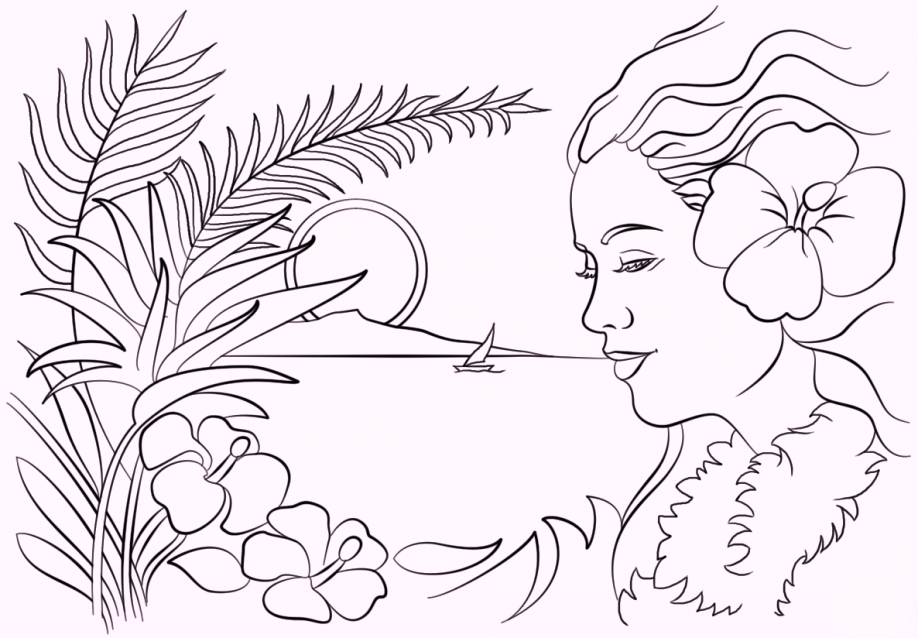 girls-wear-hawaiian-flower-coloring-pages