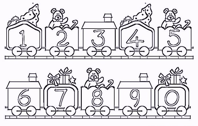 Easy Number Coloring Pages 1 10