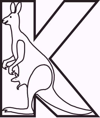 k-for-kangaroo-coloring-pages