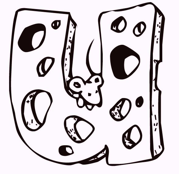 Alphabet-U-Cheese-and-Mouse-coloring-pages