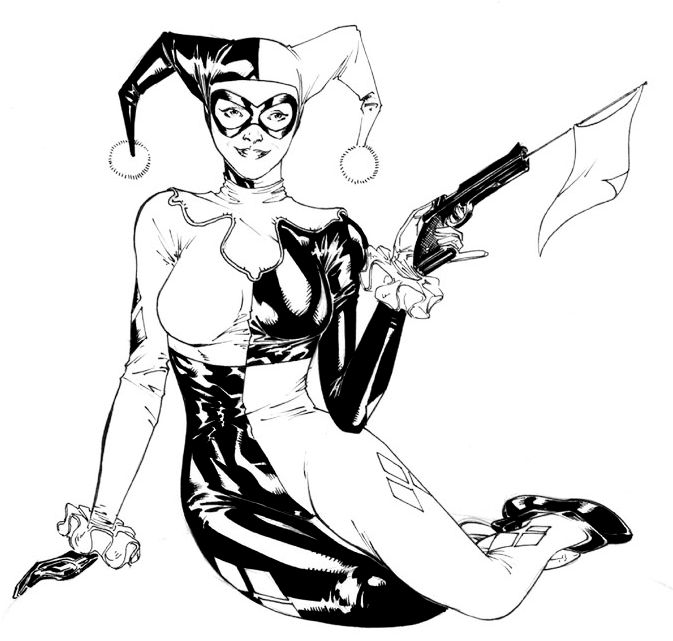 harley-quinn-black-and-white-coloring-page