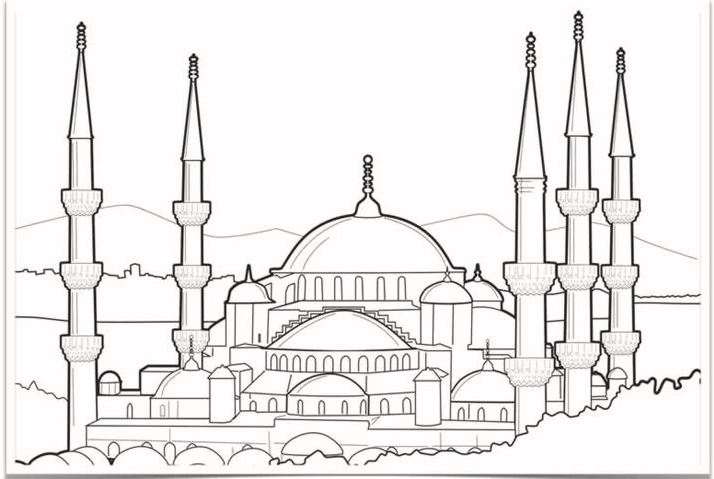 blue-mosque-drawing-coloring-page