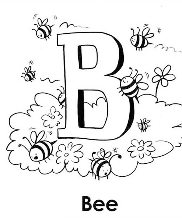 Capital-B-for-Bee-coloring-page