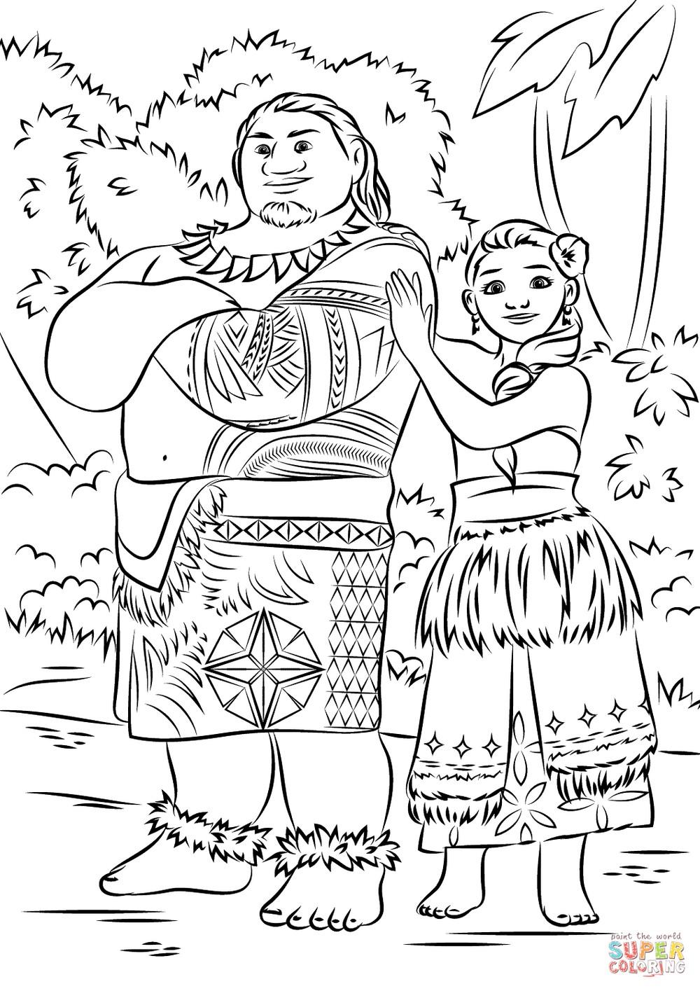 Moana-and-Mui-Colouring-page