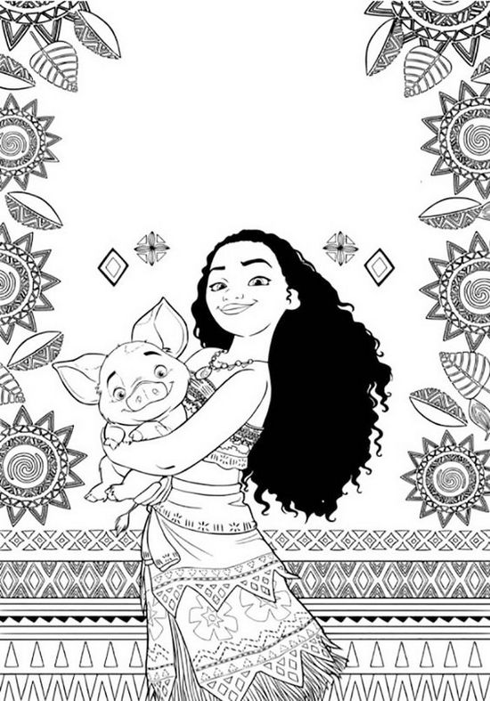 Moana-and-Pig-Coloring-Page