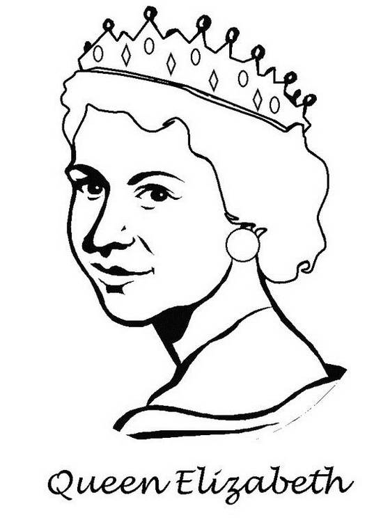 Queen-Elizabeth-wears-crown-Coloring-Pages