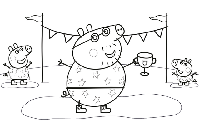 daddy-peppa-pig-and-friends-play-games-coloring-pages