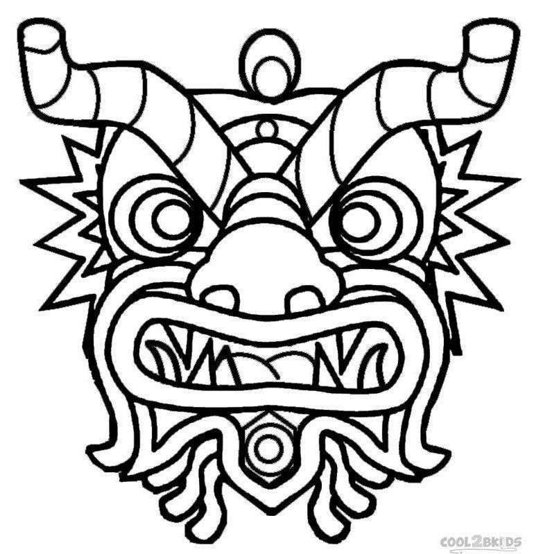 dragon-mask-head-coloring-page-printable