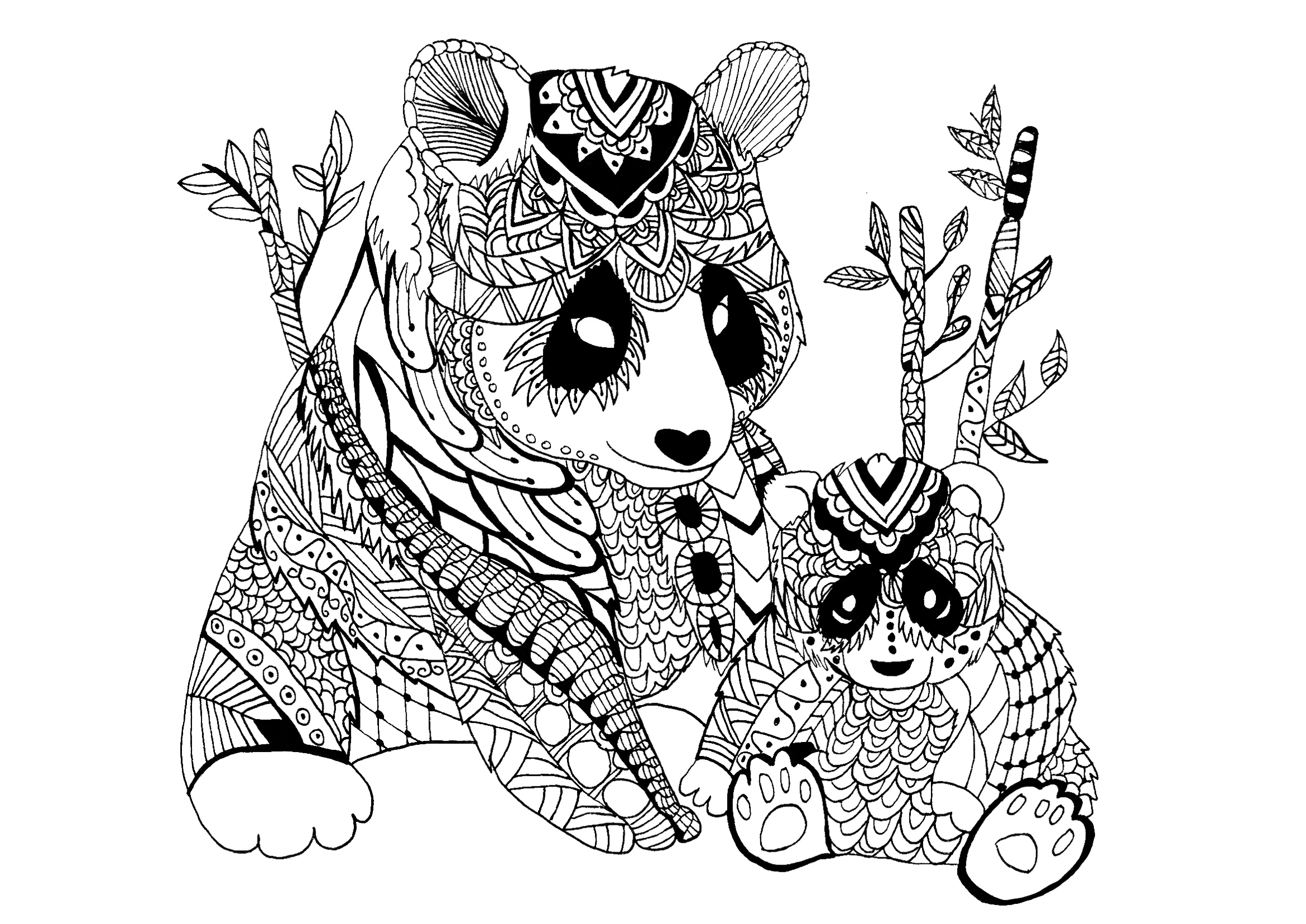 panda-and-baby-zentangle-coloring-picture