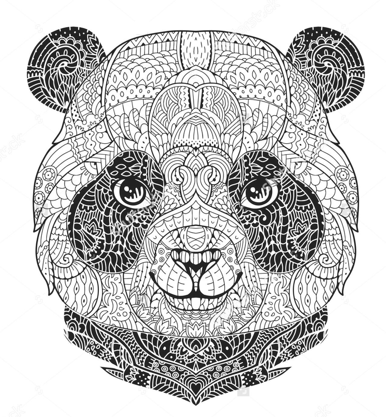 zentangle-panda-face-colouring-sheet