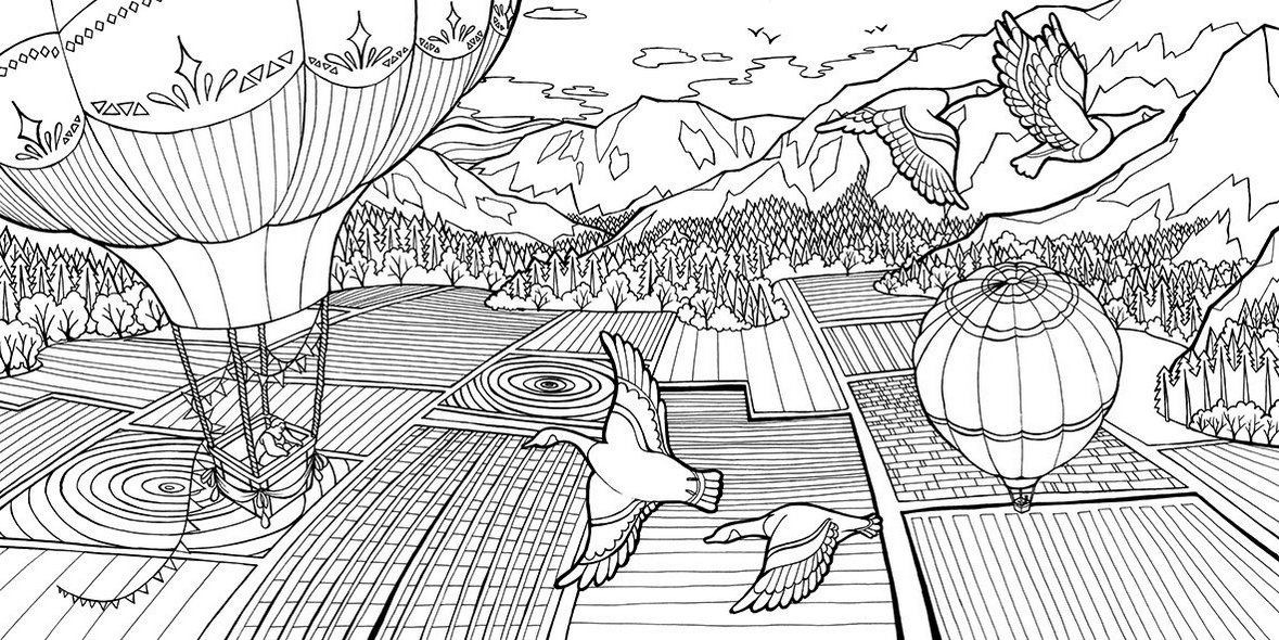 Dream-weaver-field-and-hot-balloon-air-Coloring-Book-Olivia-Whitworth