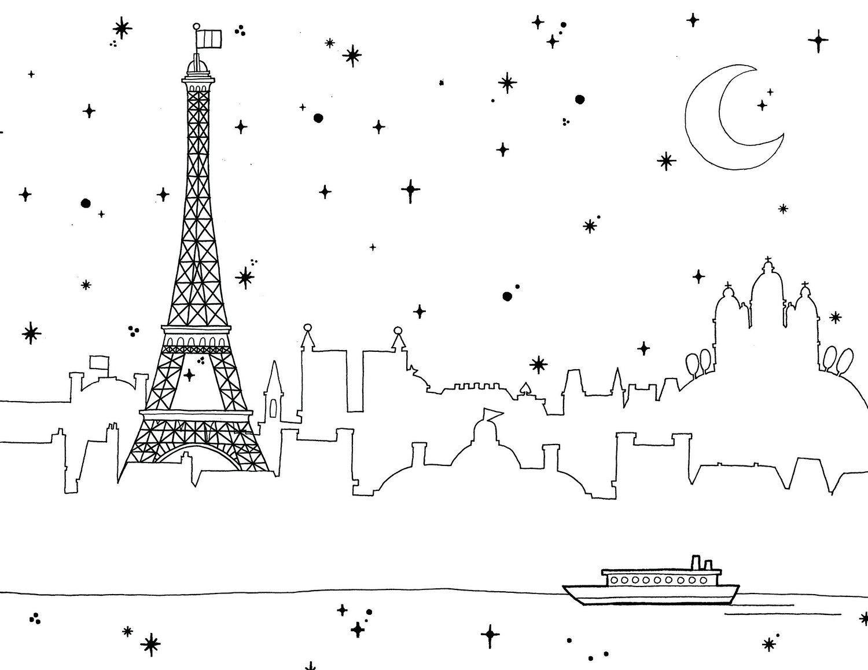 Eiffel-Tower-Landscape-Coloring-Pages