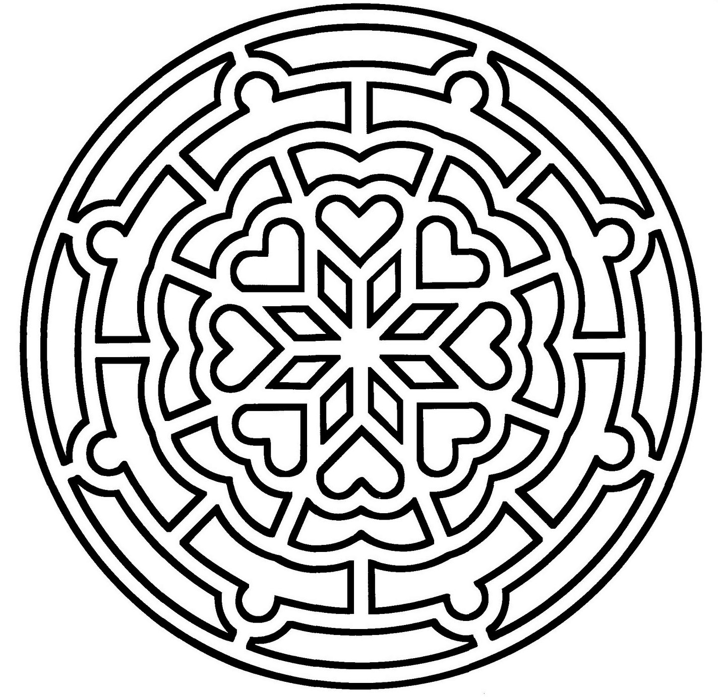 Mosaic-and-Geometric-Chakra-Patterns-Coloring-Pages
