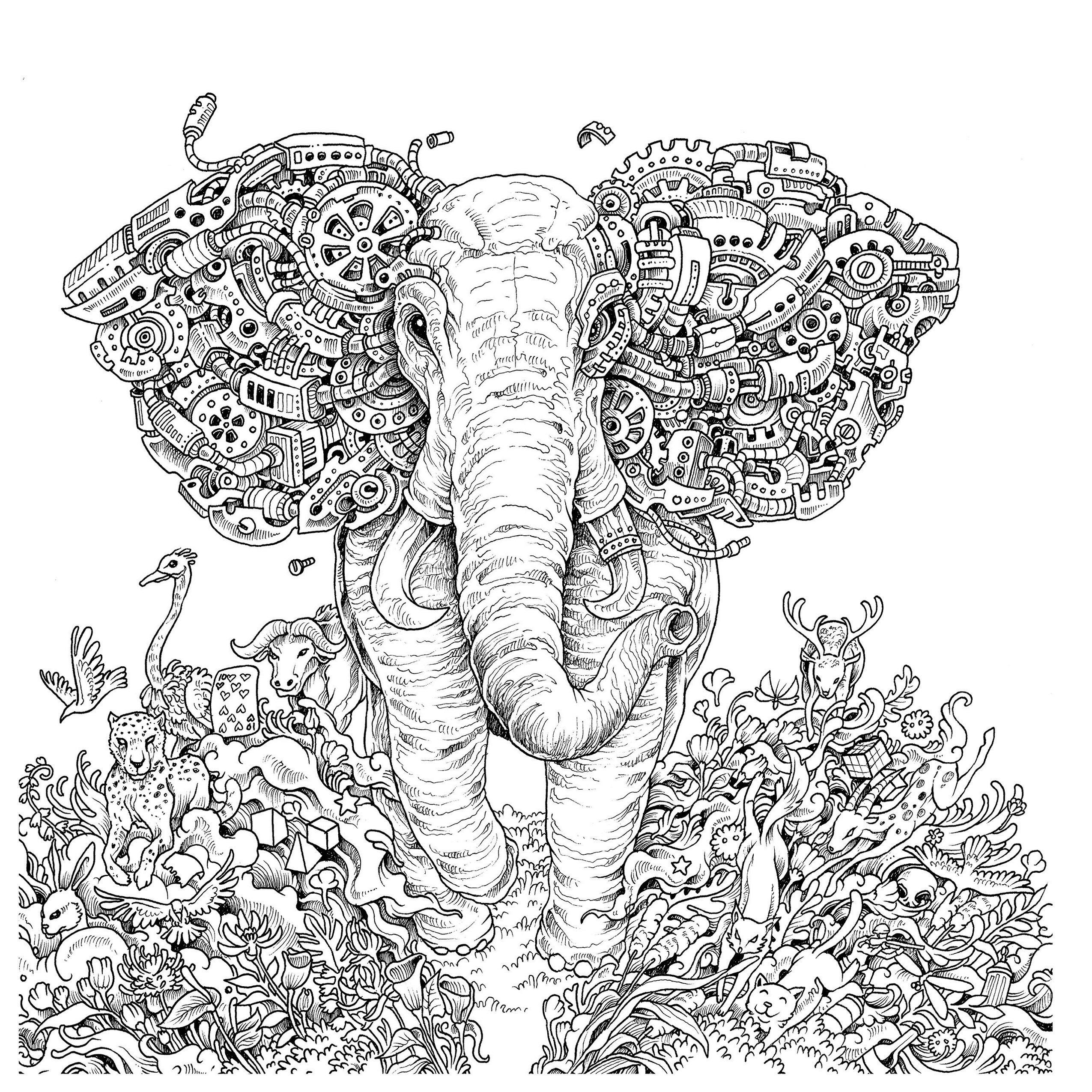 Mythomorphia-elephant-coloring-book-Kerby-Rosanes