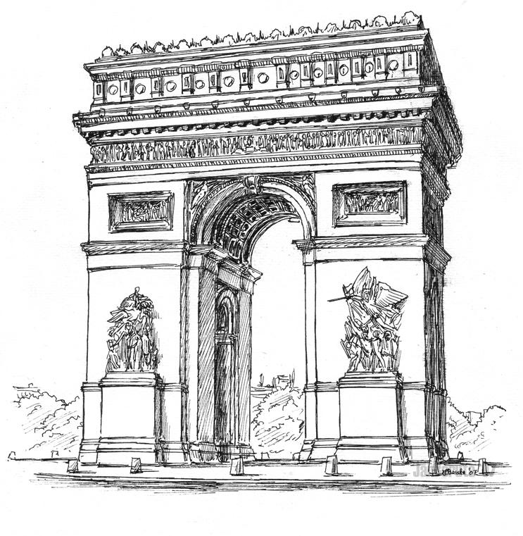 arc-de-triomphe-napoleon-bonaparte-paris-coloring-pages