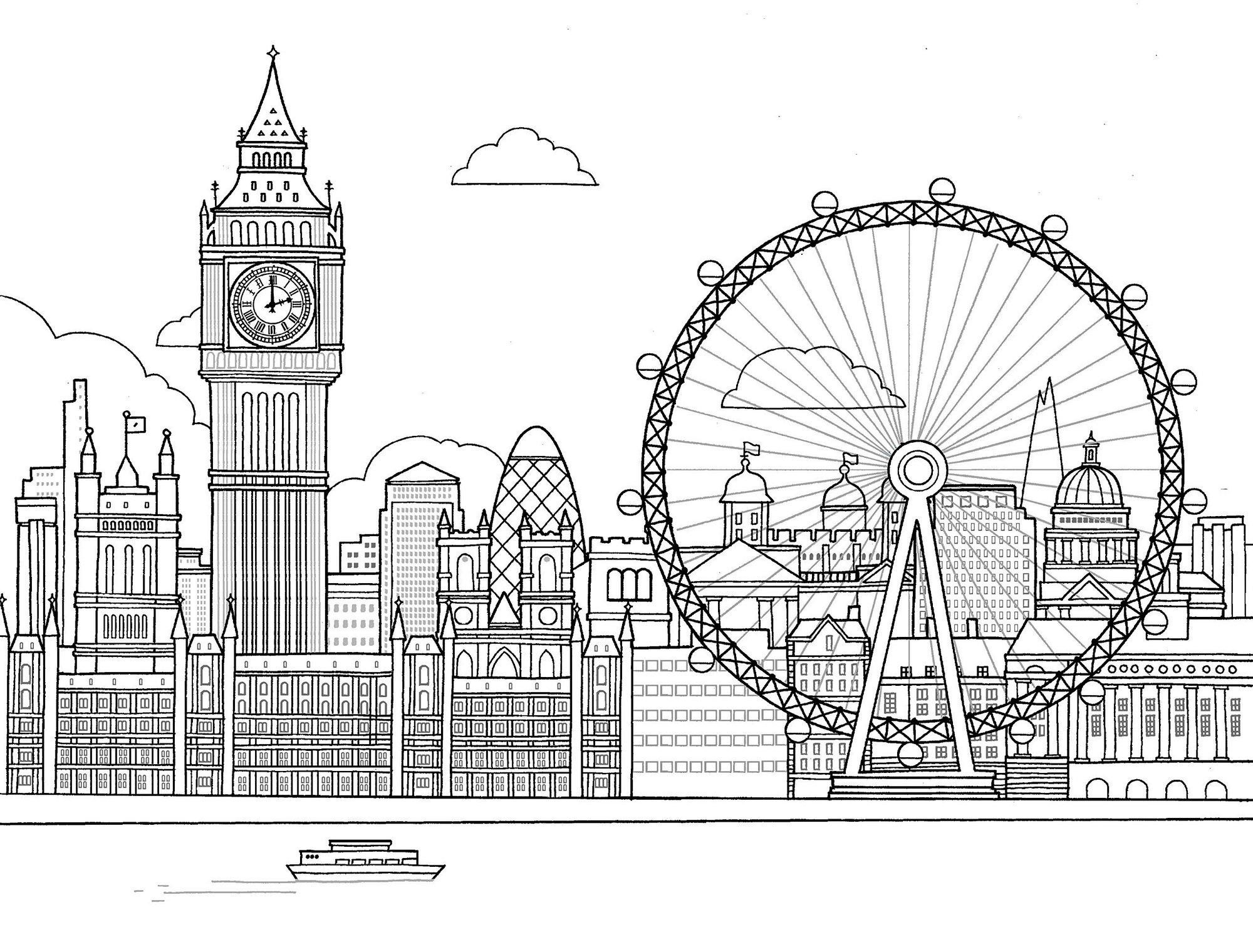 London Eye Coloring Page