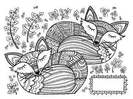 two-mandala-fox-coloring-page