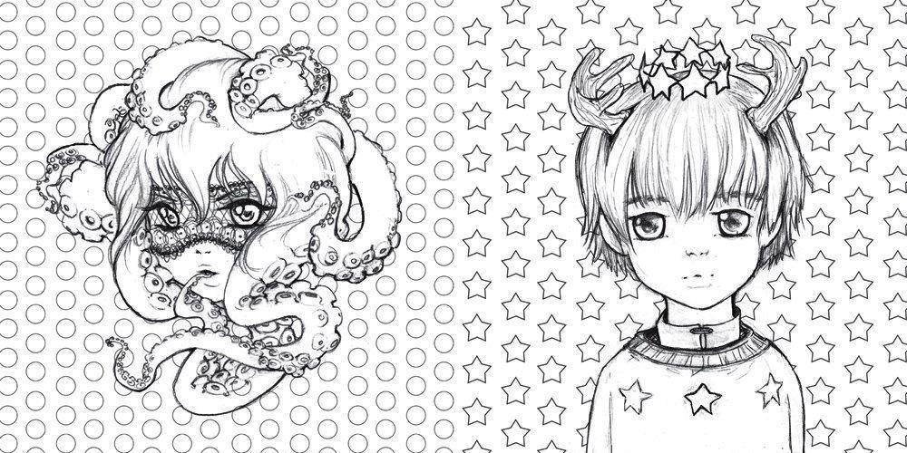 Pop-Manga-Coloring-Book-Designs