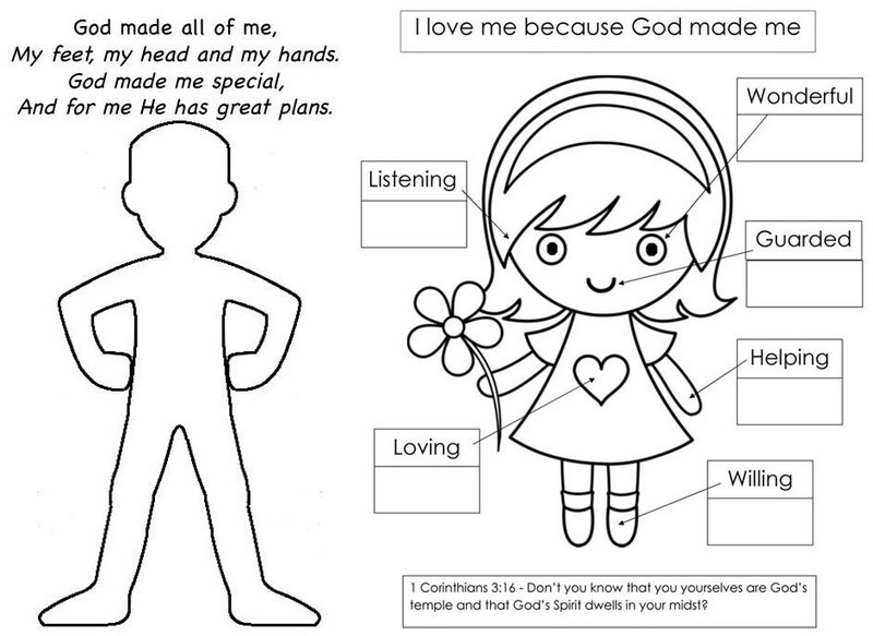 God Made Me Special Coloring Page of Body Parts