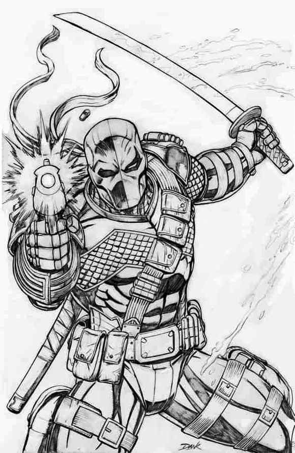 Deadpool vs Deathstroke Coloring Page Supervillian