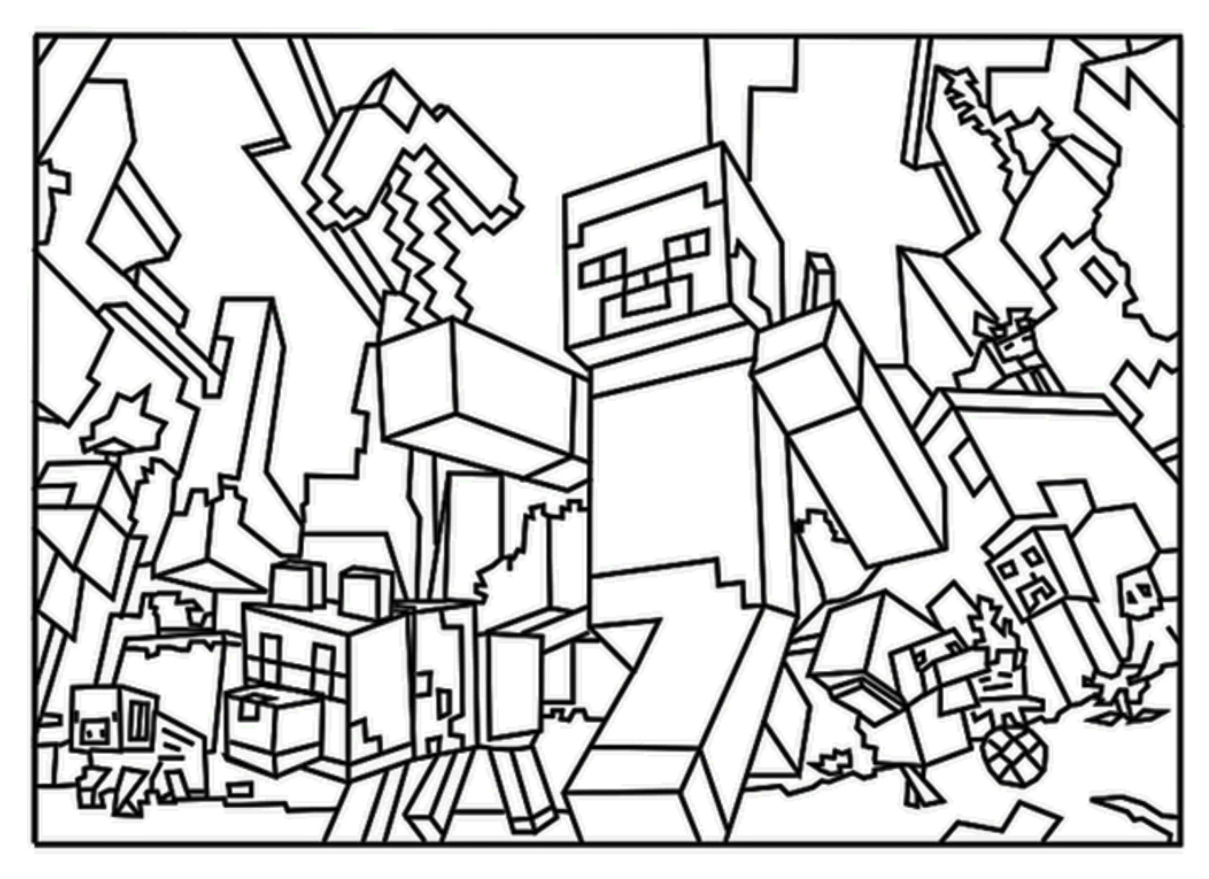 This is a picture of Challenger Steve Minecraft Coloring Page