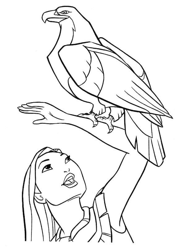 pocahontas-disney-and-eagle-coloring-page