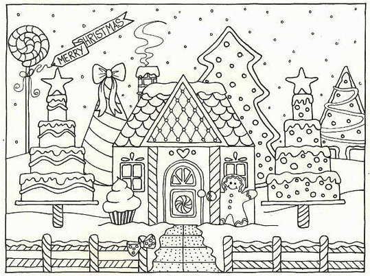 Gingerbread House Cake Coloring Pages