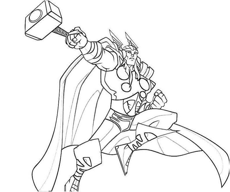 Superhero Thor Coloring Page