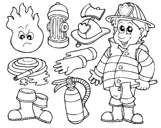 Vintage Fire Fighting Tools Coloring Pages