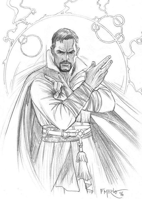 Doctor Strange Marvel Superhero Coloring Page