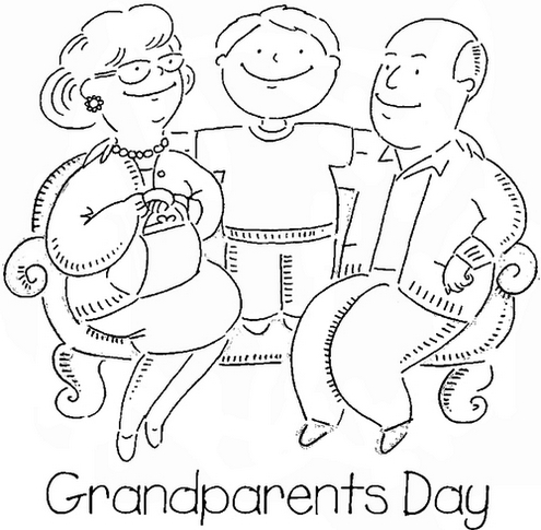 Happy Grandparents Family With Greenchild Coloring Pages
