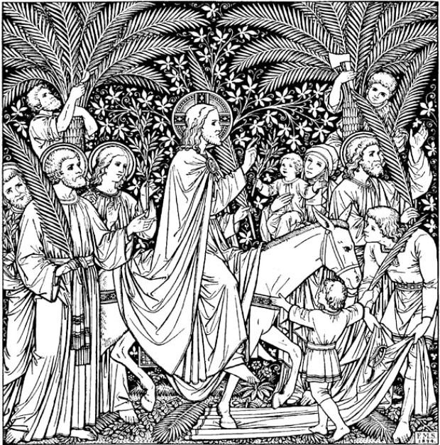 Palm Sunday Coloring Page Printable