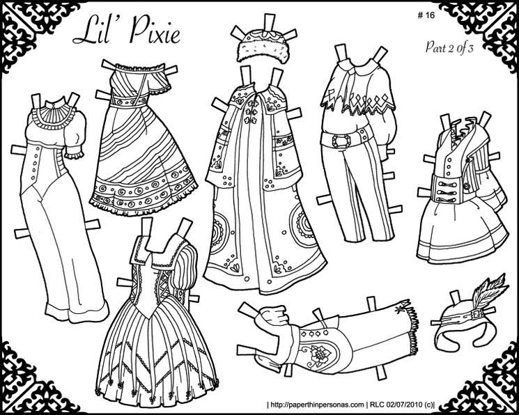 Paper Doll Lil Pixie Gowns Coloring Page 1