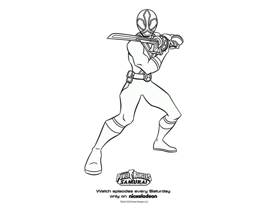 Power Rangers Samurai Green Samurai Ranger Coloring Page