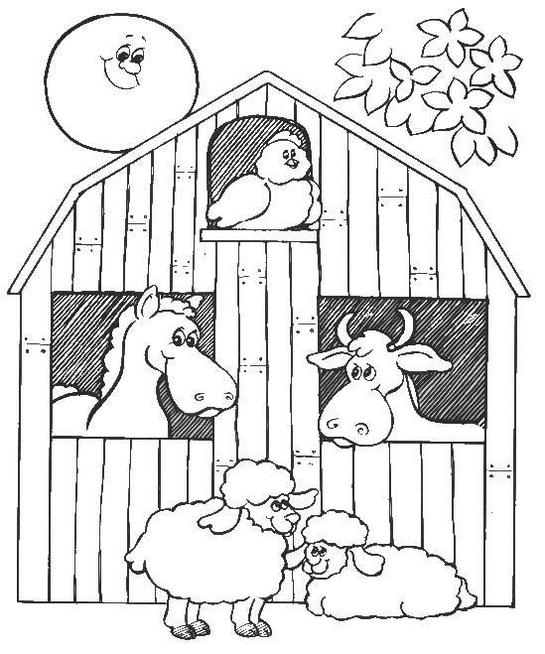 Barn And Farm Animal Coloring Page