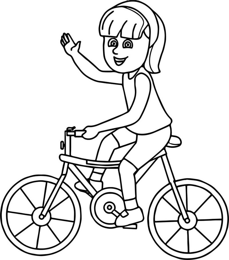 Bike And A Girl Coloring Page