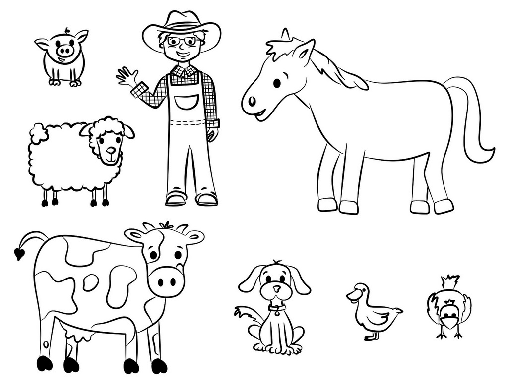 Farmer And Farm Animals Coloring Pages