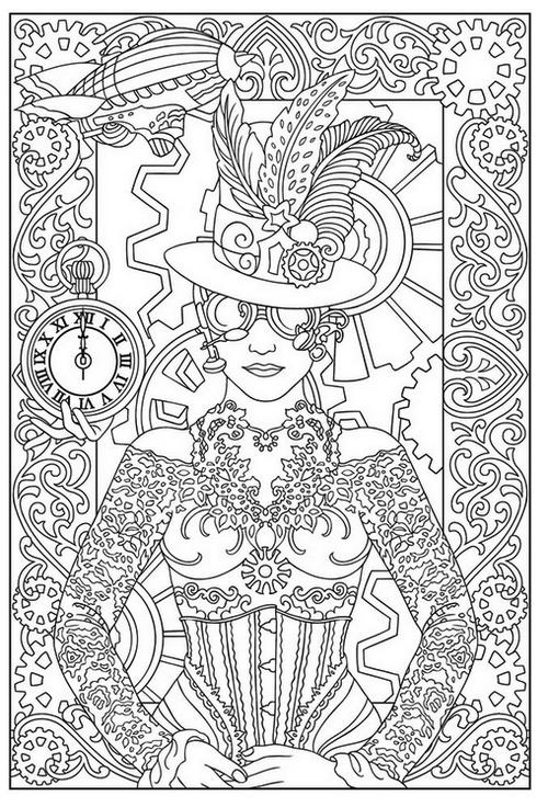 Free Printable Steampunk Coloring Sheet