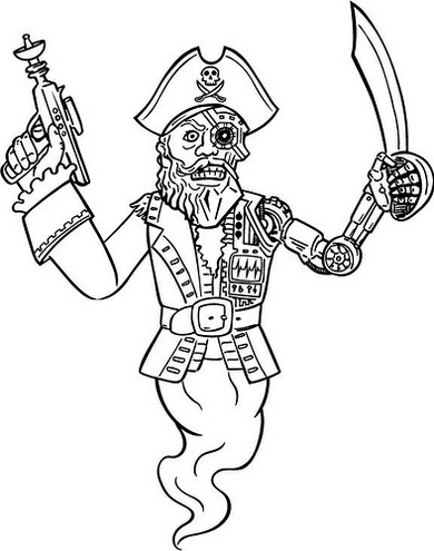 Ghost Pirate Coloring Page