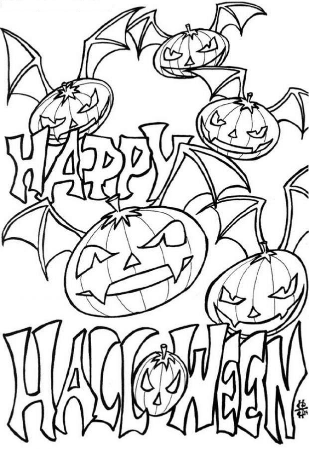 Halloween Ghost Pumpkin Coloring Page