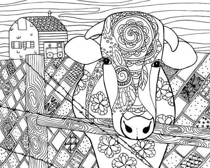 Mandala Farm Animal Coloring Page Cow Coloring Sheet
